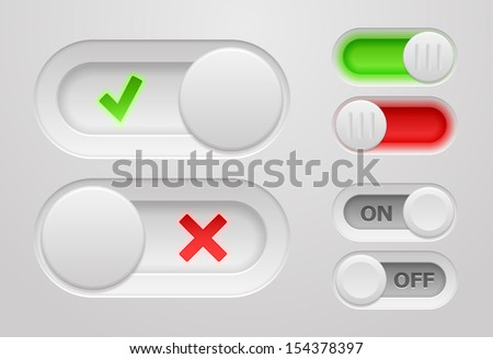 Set of vector on/off switch sliders