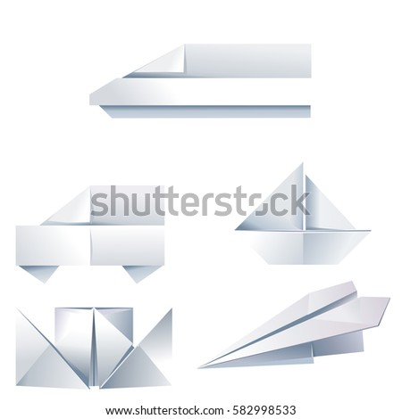 Set Of Vector Origami Icons On The Theme Travel Made Folded Paper Airplane