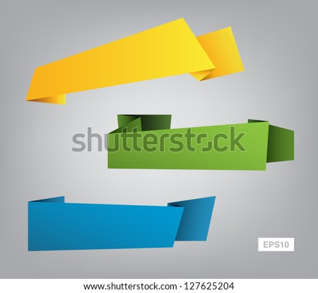 Set of vector origami ribbon banners for websites or business design - stock vector