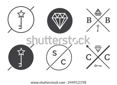 Set of Vector Outline Badges or Emblems Abstract Hipster Logo Templates  - stock vector