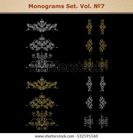 Set of vector page decoration elements or monograms. Can be used for designing books, cards, menus, advertisments, tattoo etc.