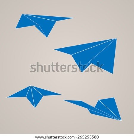 Set of vector paper airplane in retro style