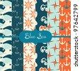 set of vector paper for scrapbook Blue Sea - stock vector