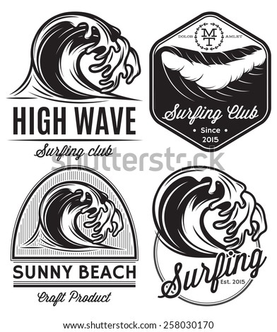 set of vector patterns for design logos on the theme of water, surfing, ocean, sea - stock vector