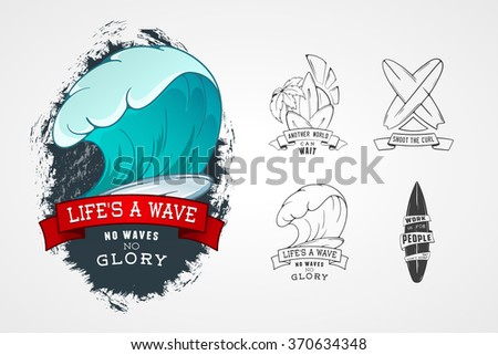 Set of vector patterns for design logos on theme of water, surfing, ocean, sea, palm, ribbon, wave, surfbord. Stylized Design element with lettering. - stock vector
