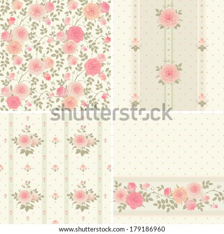 Set of vector patterns with climbing roses. Seamless floral background. - stock vector