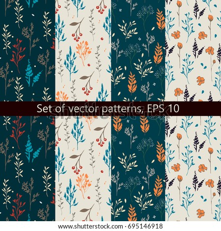 Set of vector patterns with floral design
