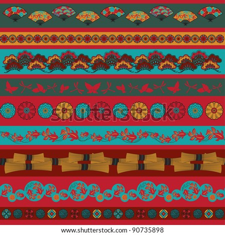 Set of vector pictures containing ethnic Japan elements for cloning and putting together - stock vector