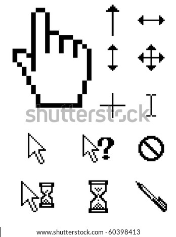 set of vector pixel cursors - stock vector