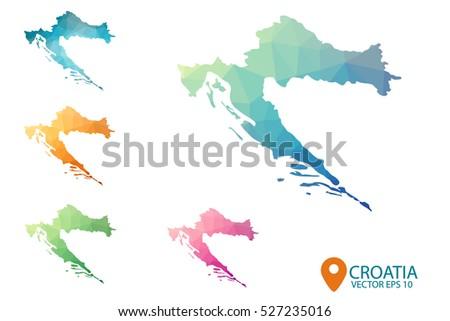 Set Vector Polygonal Croatia Maps Bright Stock Vector (Royalty Free ...