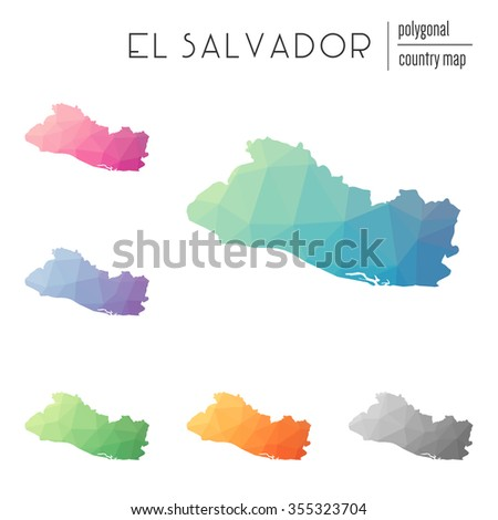 Set of vector polygonal El Salvador maps. Bright gradient map of country in low poly style. Multicolored country map in geometric style for your infographics - stock vector