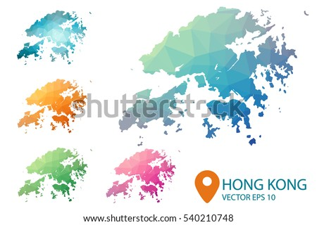 Set of vector polygonal Hong Kong maps.  Multicolored country map in geometric style for your infographics. Vector illustration eps 10.