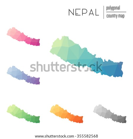 Set of vector polygonal Nepal maps. Bright gradient map of country in low poly style. Multicolored country map in geometric style for your infographics