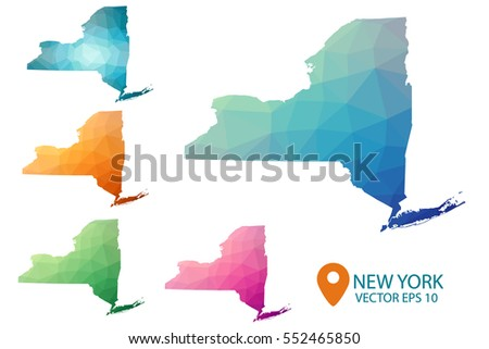 Set of vector polygonal New York state maps. Bright gradient map of country in low poly style. Multicolored country map in geometric style for your infographics. Vector illustration eps 10.