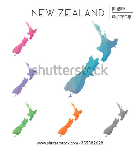 Set of vector polygonal New Zealand maps. Bright gradient map of country in low poly style. Multicolored country map in geometric style for your infographics