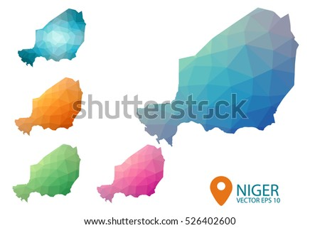 Set of vector polygonal Niger maps. Bright gradient map of country in low poly style. Multicolored country map in geometric style for your infographics. Vector illustration eps 10.