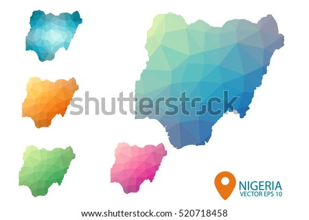 Set of vector polygonal Nigeria maps. Bright gradient map of country in low poly style. Multicolored country map in geometric style for your infographics. Vector illustration eps 10.