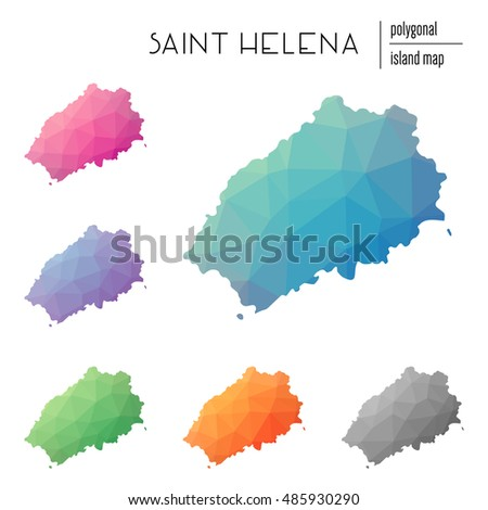 Set of vector polygonal Saint Helena maps filled with bright gradient of low poly art. Multicolored island outline in geometric style for your infographics.
