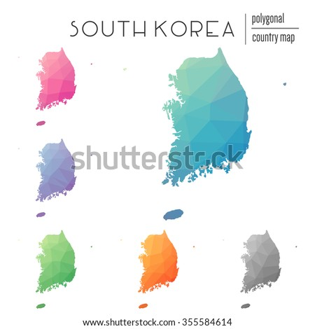 Set of vector polygonal South Korea maps. Bright gradient map of country in low poly style. Multicolored country map in geometric style for your infographics - stock vector