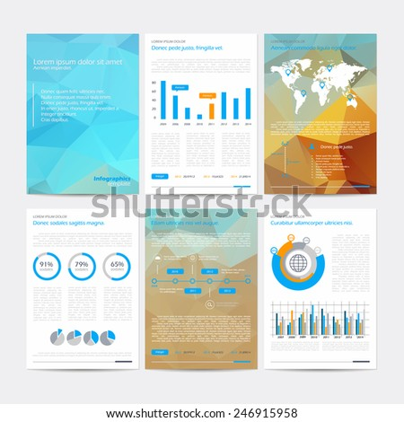 Set of vector poster infographic templates with polygonal background. Abstract background for business documents, flyers, posters and placards with infographics. - stock vector