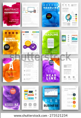 Set of Vector Poster Templates with Fluid Paint Splash. Abstract Background for Business Documents, Flyers, Posters, Annual Reports, Cards and Placards. Infographic Charts, Graphs and other Elements - stock vector
