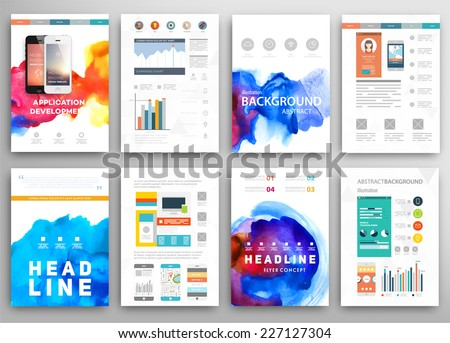 Set of Vector Poster Templates with Watercolor Paint Splash. Abstract Aquarelle Background for Business Flyers, Posters and Placards. Mobile Technologies Concept. Flat Style Web and Infographic Icons. - stock vector