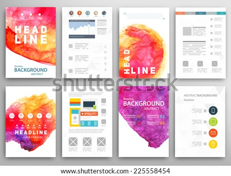 Set of Vector Poster Templates with Watercolor Paint Splash. Abstract Background for Business Documents, Flyers and Placards. - stock vector