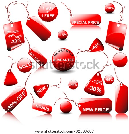 set of vector price tags - you can use it for any sale time or seasons - stock vector