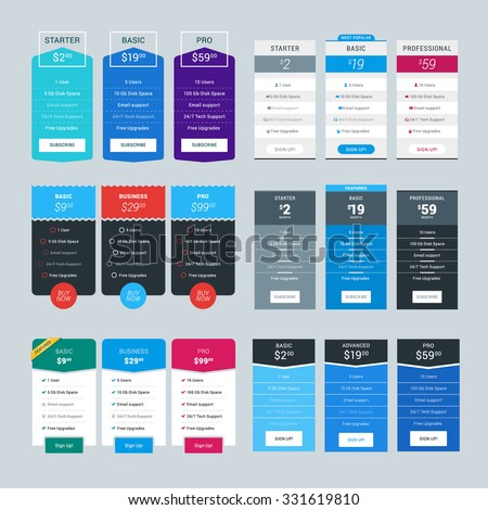 Set of Vector Pricing Table Design Templates for Websites and Applications
