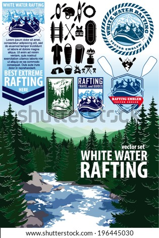 set of vector rafting emblems labels, icons and elements - stock vector