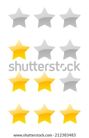 set of vector rating stars on the white background