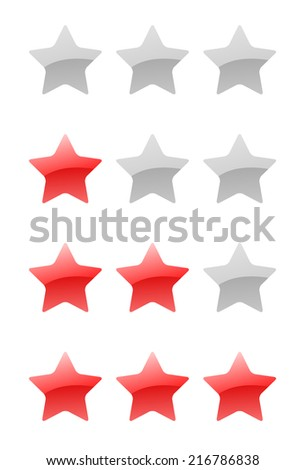 set of vector rating stars on the white background - stock vector