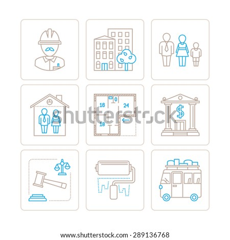 Set of vector real estate icons and concepts in mono thin line style - stock vector