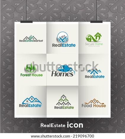 Set of Vector Real estate Logo - stock vector