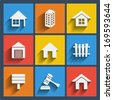 Set of 9 vector real estate web and mobile icons in flat design. - stock photo