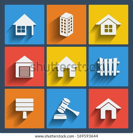 Set of 9 vector real estate web and mobile icons in flat design. - stock vector
