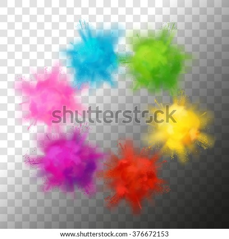 Set of vector realistic color paint powder clouds or explosions. Volumetric abstract Holi decorative elements isolated - stock vector