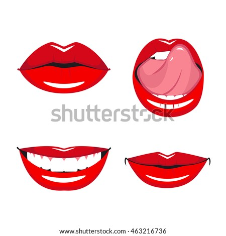 set vector red lips various types stock vector royalty free rh shutterstock com Eyes Lips Face Red Lips