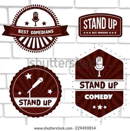 Set of vector red logos and badges with ribbons at white brick background. Stand up comedy theme: images of modern and retro microphones, starburst. - stock vector