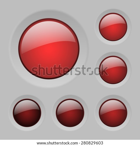 set of vector red rounded glass buttons