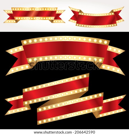 set of vector red show banners with bulb lamps - stock vector
