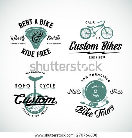 Set of Vector Retro Bicycle Custom and Rental Labels or Logo Templates Isolated - stock vector