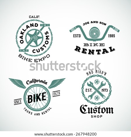 Set of Vector Retro Bicycle Custom Labels or Logos. Wheel, Wings, Pedals, Wrenches, etc. Isolated.  - stock vector
