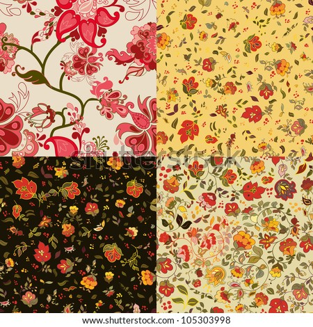Set of vector retro floral seamless patterns. - stock vector