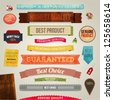 Set of vector retro ribbons, old dirty paper textures and vintage labels, banners and emblems. Elements for design. - stock photo