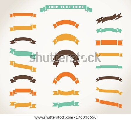 Set of vector ribbon icons. Labels with retro vintage styled design. There is blank place for your text. - stock vector