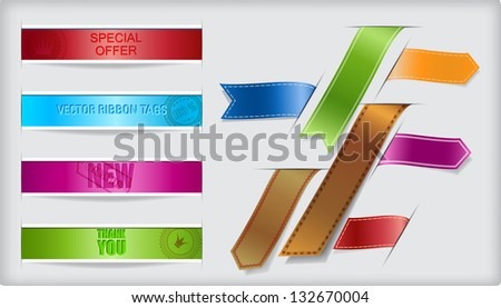 Set of vector ribbons and banners with paper cuts and shadow. - stock vector