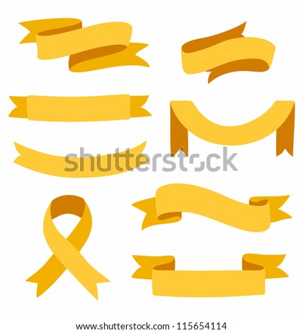 Set of vector ribbons isolated on white background - stock vector