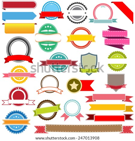 Set of vector ribbons, labels, banners and emblems. Design elements. - stock vector