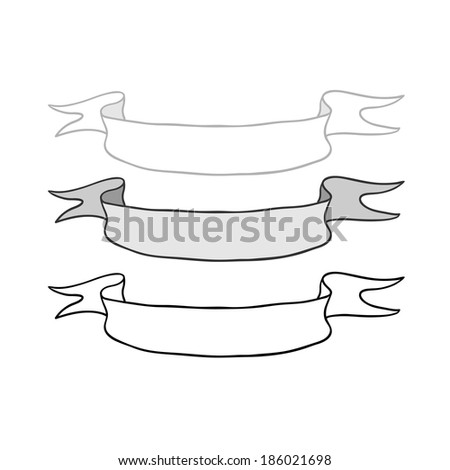 set of vector ribbons on white background